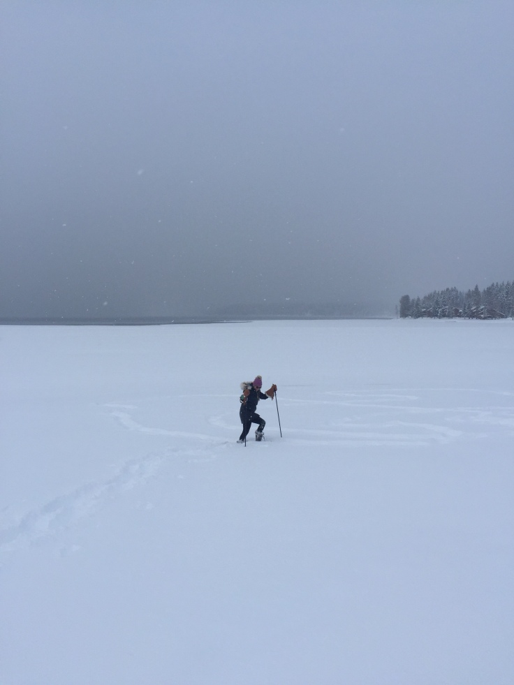 Snow shoeing in the emptiness