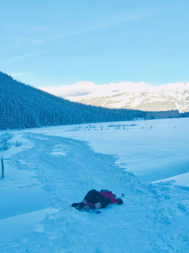 Wipe out cross country skiing on Lake Louise, Canada