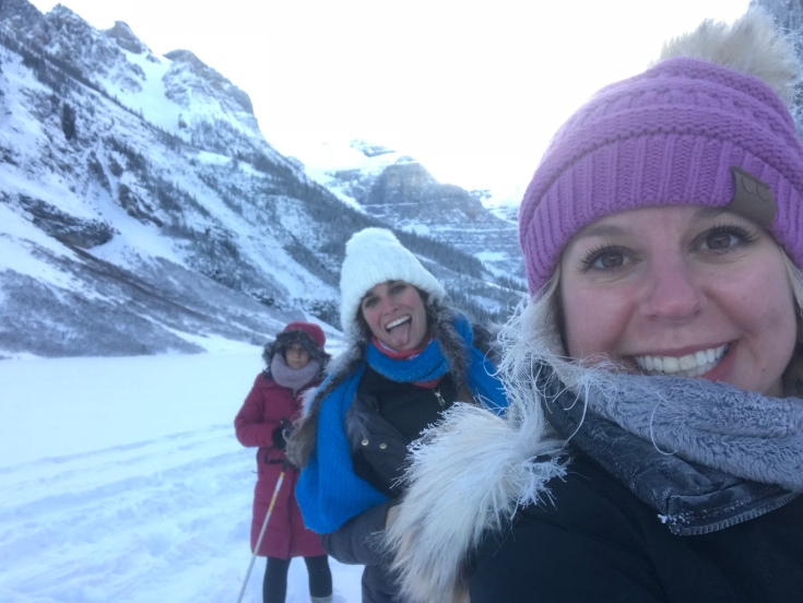 Cross country skiing on frozen Lake Louise, Canada